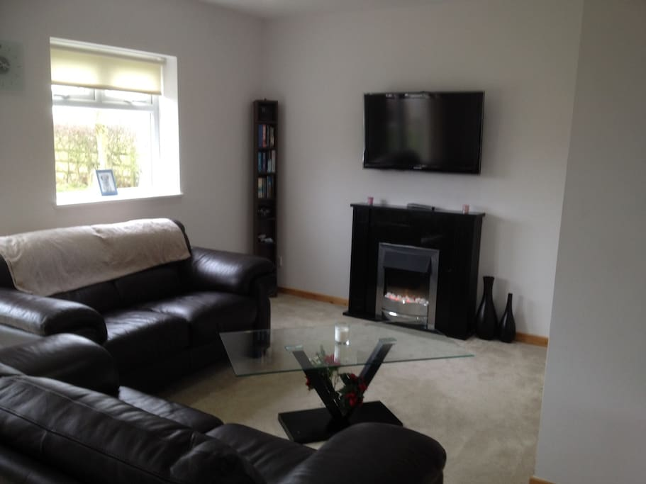living area with electric (living flame effect) fire. Large flatscreen tv, comfortable sofas