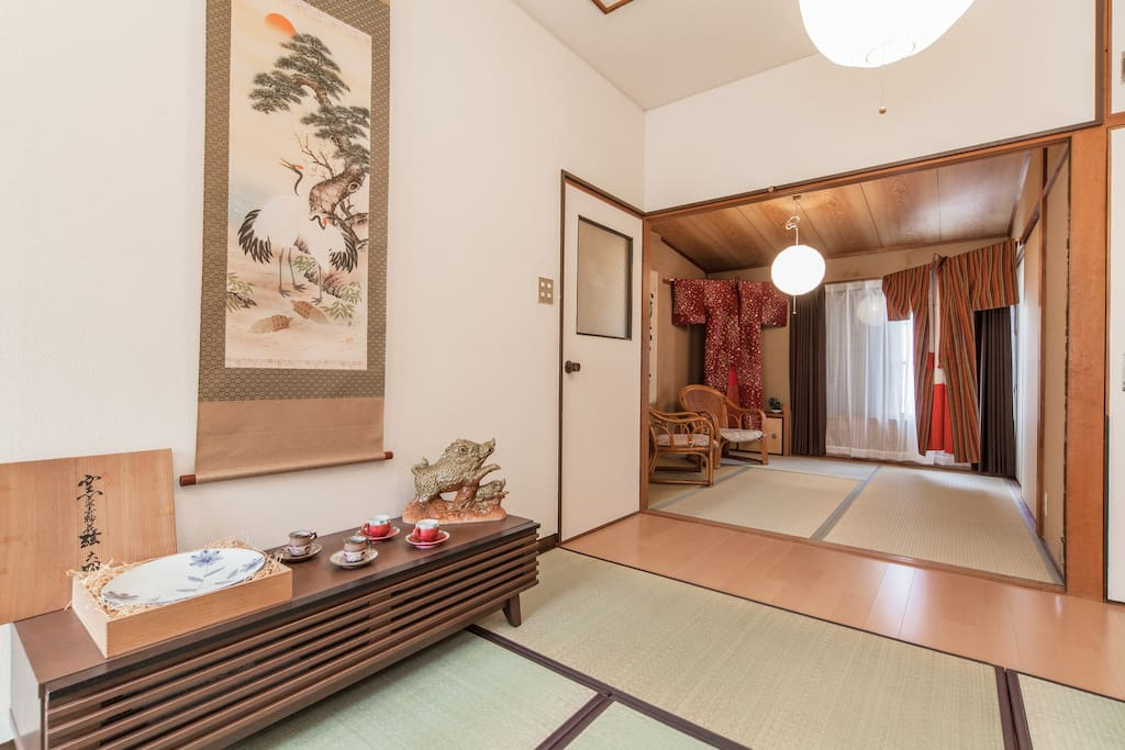 Living room and Japanese style room(Tatami room)