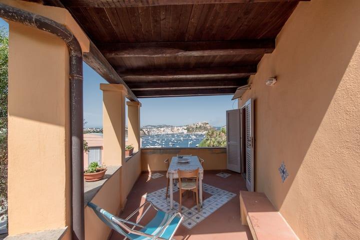 Casa Giovanna con vista su Marina di Corricella