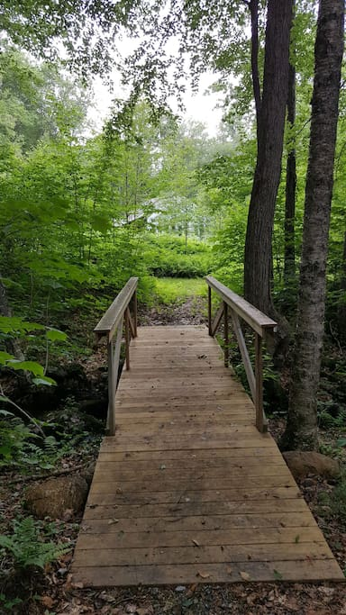 Bridge over stream in back yard leads to camp site and hiking trail facing home.