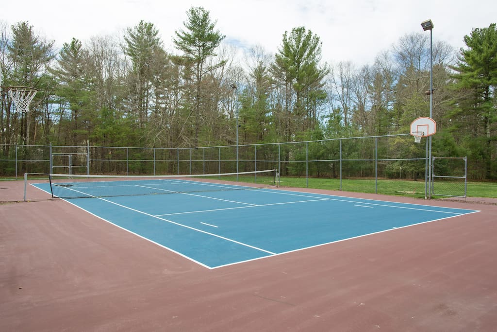 Tennis/basketball court resurfaced in 2015.