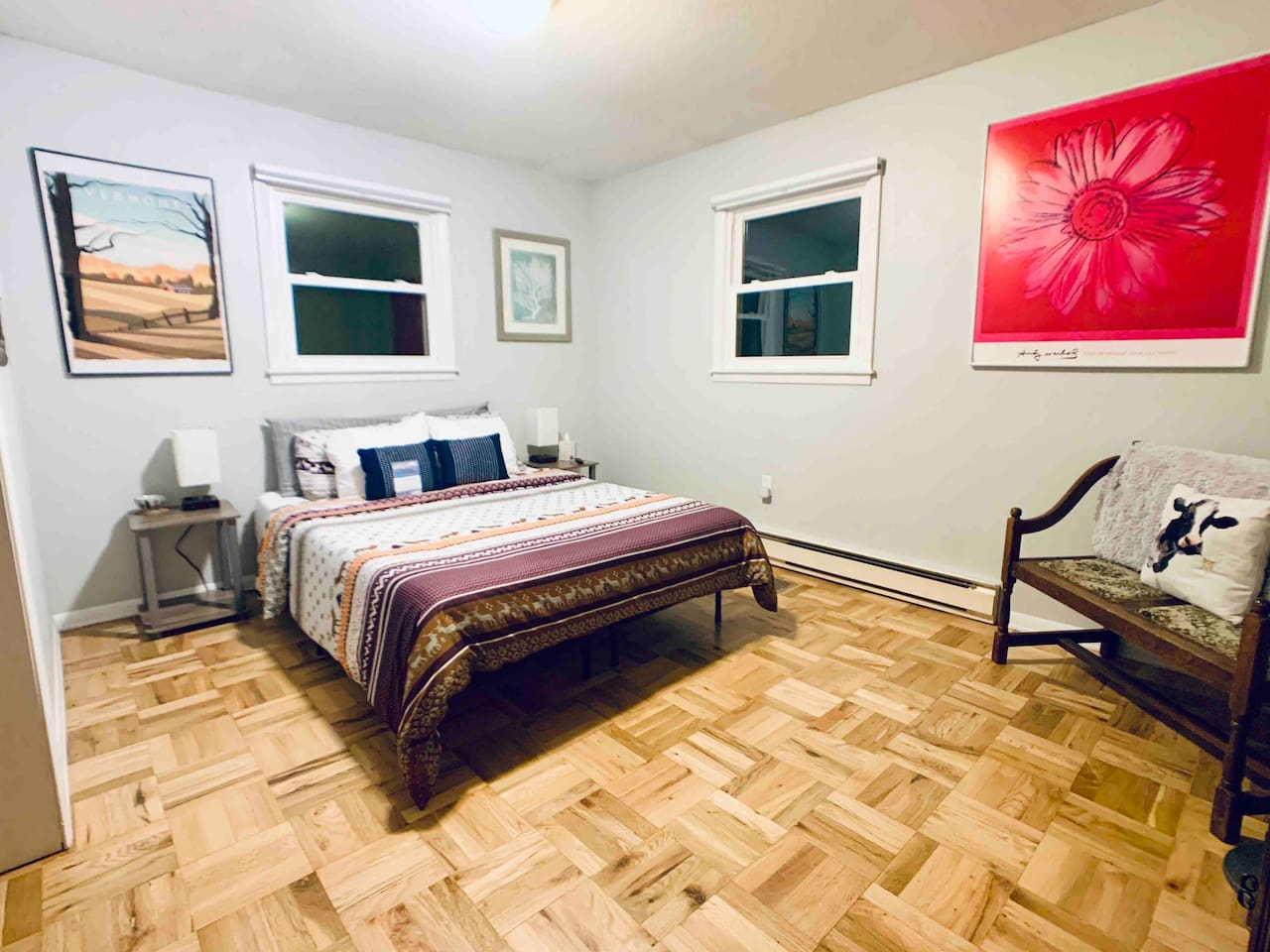 Comfy queen-sized memory foam bed. Each guest room has it's own smart TV hooked up to stream Netflix! Towels, washcloths and all essentials are provided for your stay!