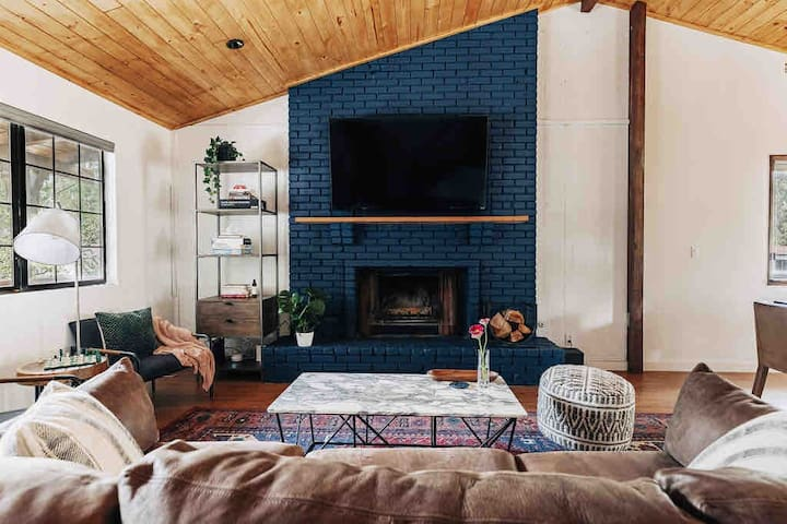 Sit around the fire on our comfortable chairs and extra deep sofa.