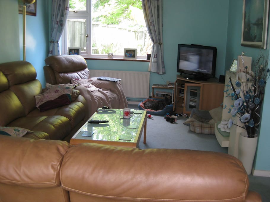 This is the lounge where we socialise, watch TV or a DVD