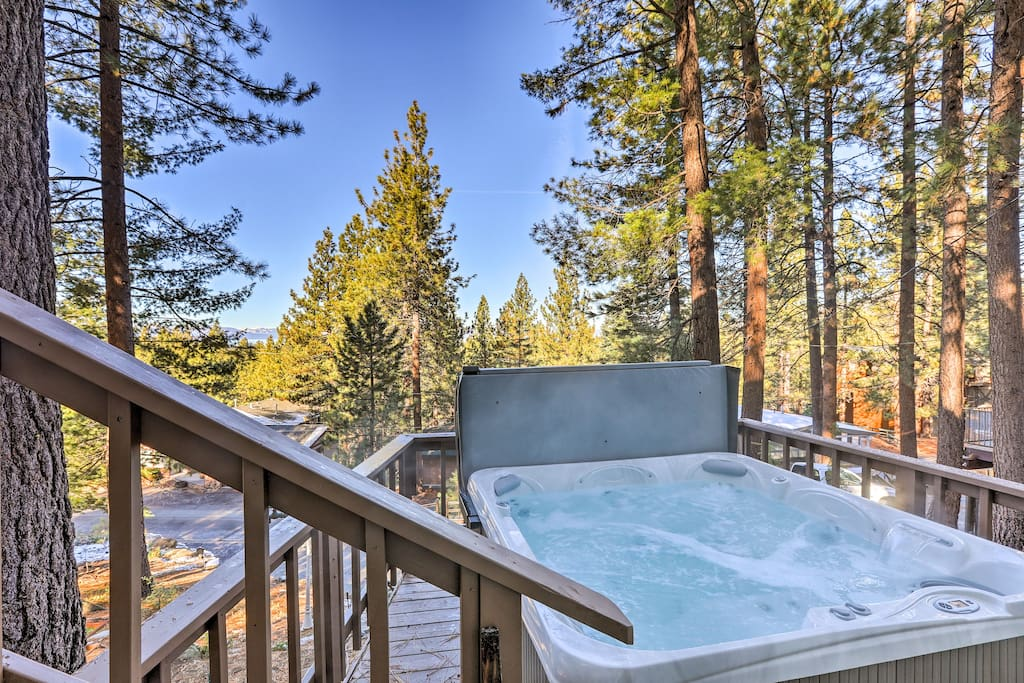 After an active day outdoors, relax in the private hot tub.