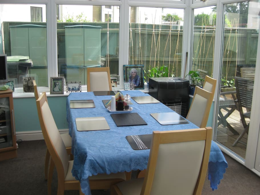 This is the garden room where we eat when it is too cold outside