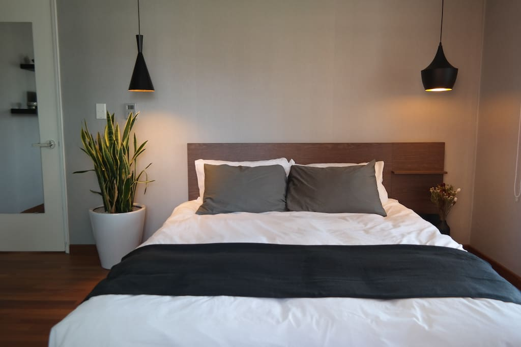 This is your room. Bed is extra large queen size (160cm) with western style bedding with extra cushy pillows.