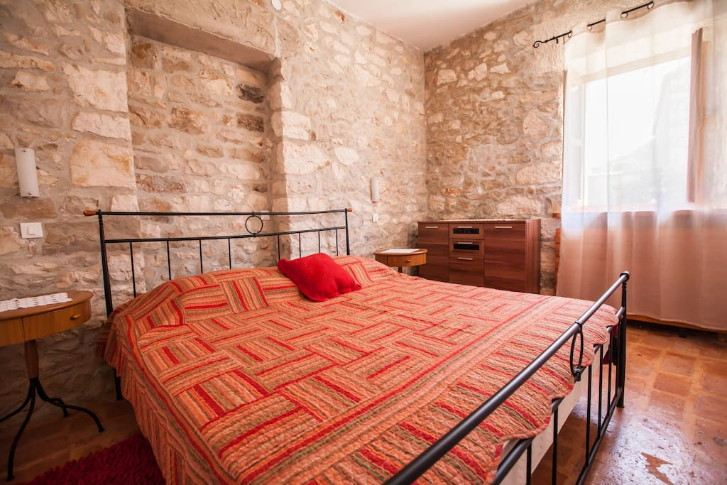 Rustic bedroom with double bed