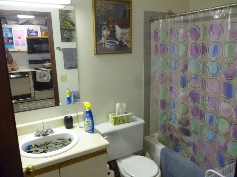 Full bathroom with shower and tub