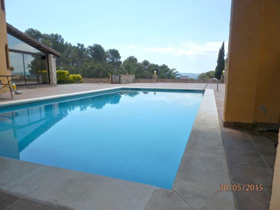 Vue de la piscine depuis le couvert