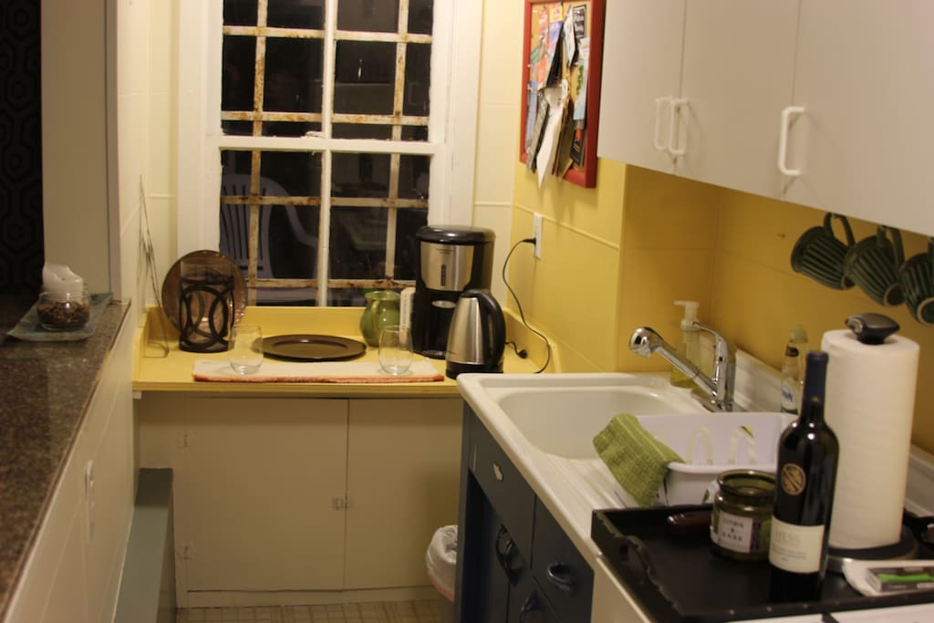 Kitchen with supplies and stove for cooking if you want to stay home