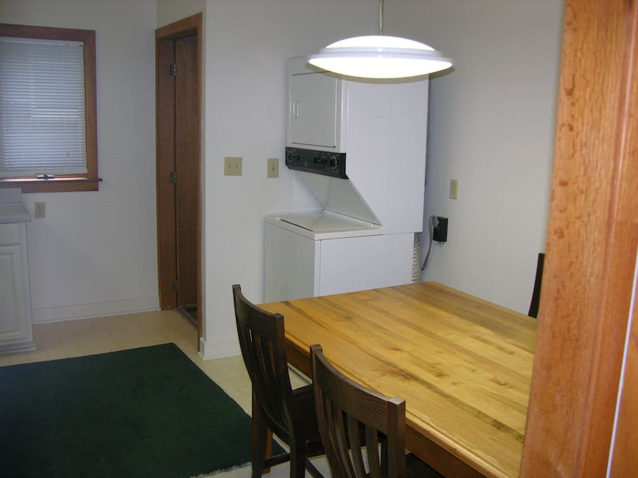 Large dining table and laundry machine