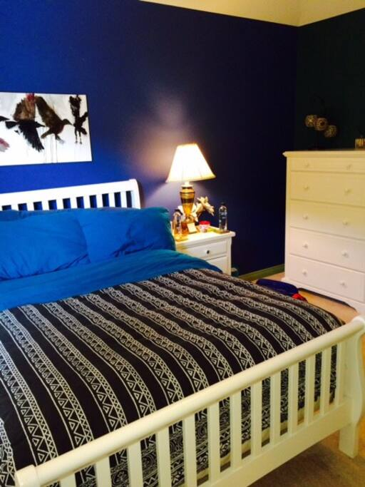 Blue Bedroom with firm double mattress.