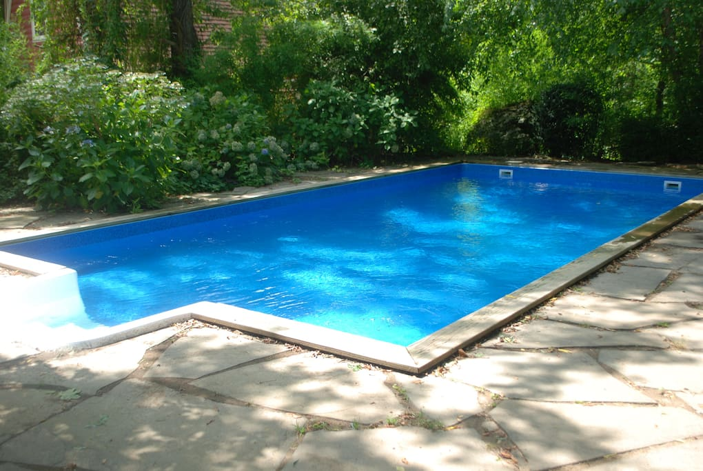 The pool is brand new, gets lots of sunlight and is super refreshing.  The pool is completely private and right off the deck, for super fun bbq and swimming days.