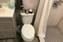 Super clean renovated bathroom with full XL shower