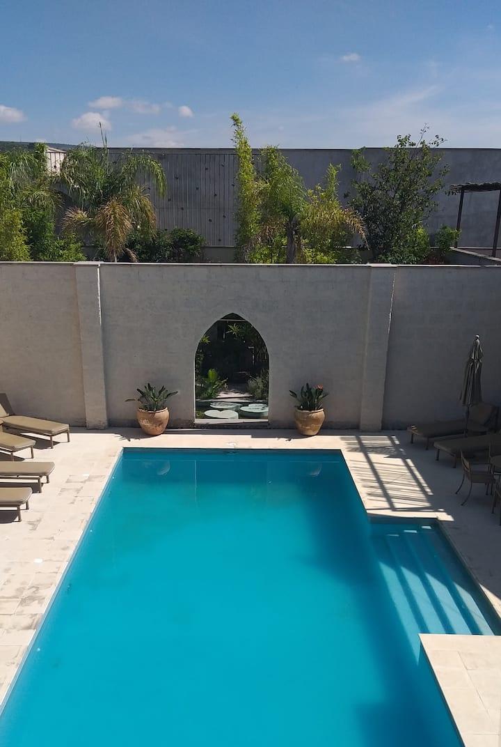 Moorish style walled pool villa