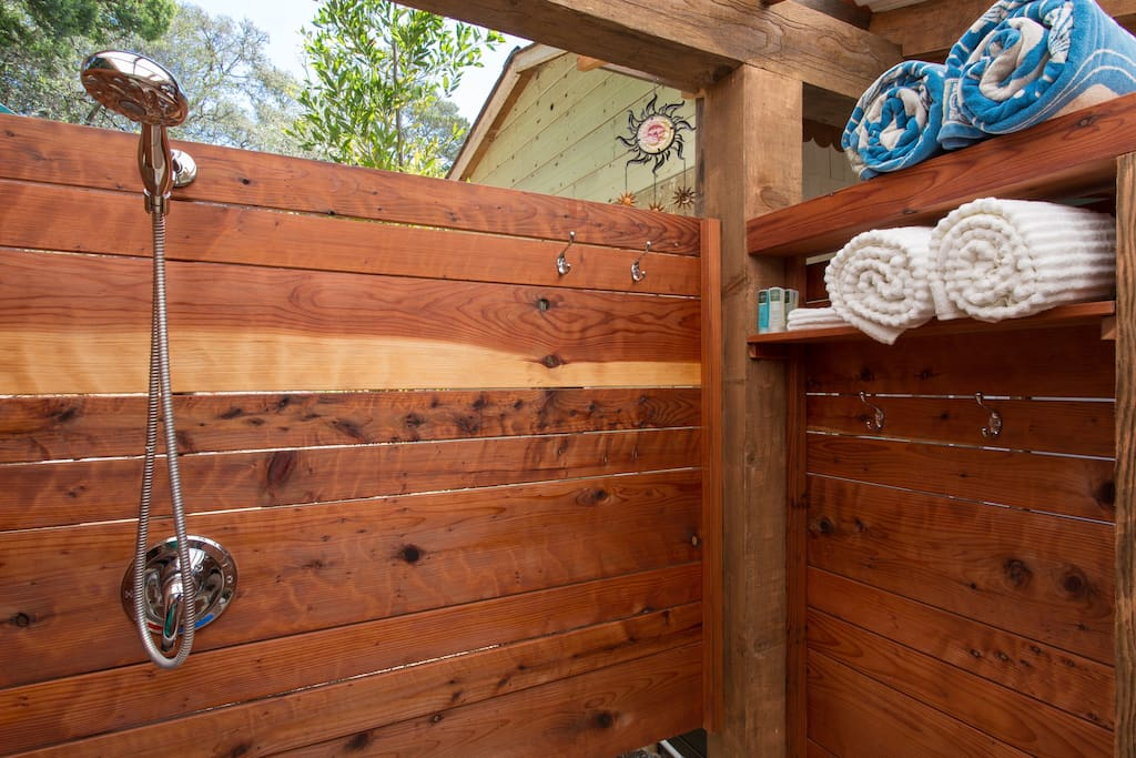 Spacious outdoor enclosed shower