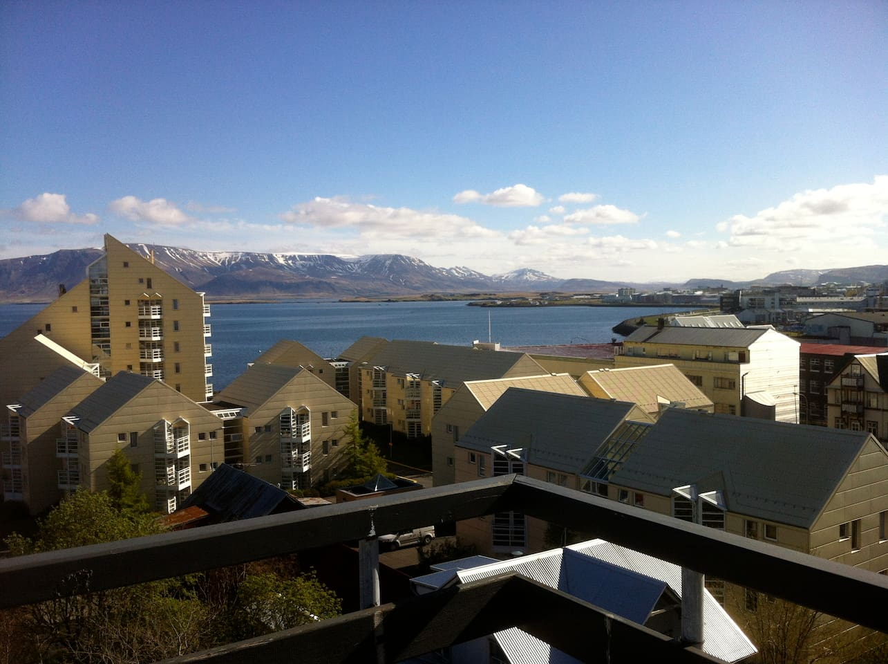 View from the apartment over the Fjord in Reykjavik downtown