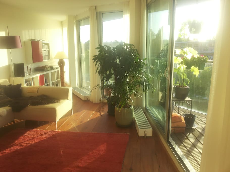 Our appartment has a wall of glass, this makes it very light and bright.