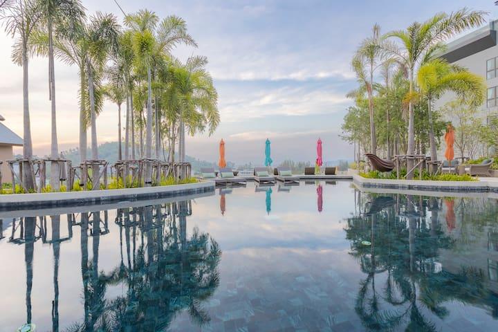 Nice Sea View 1BR apartment in New Condo. Roof Pool ❤️ Surin Beach - E103