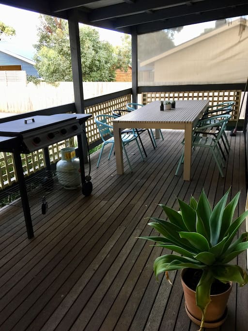 North facing deck with bbq & outdoor setting to seat six people