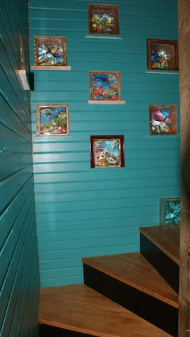 Glass blocks backlit to guide you at night - great sea pics for kids to veiw