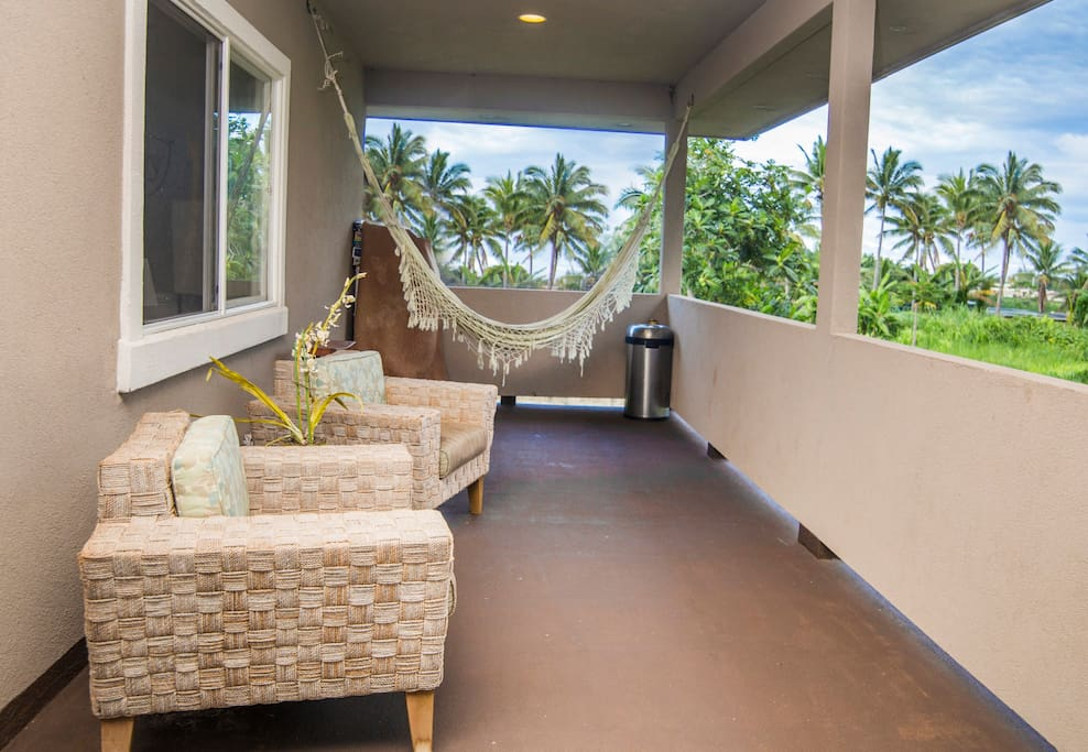 Outdoor Room/ Lanai/Balcony with nice tropical mountain views and a hammock to relax