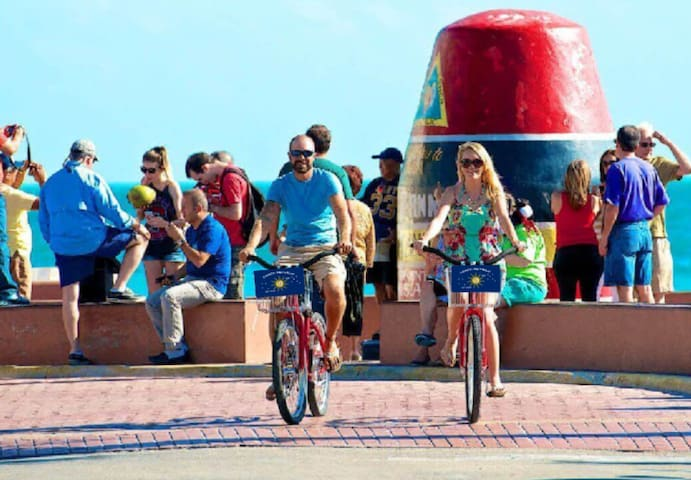 Cruise to the beach, Southernmost point or down Duval on his and hers bikes, included in your stay!
