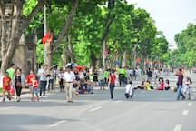 Walk-street: the area around Hoan Kiem lake. On weekend there are many interesting activities