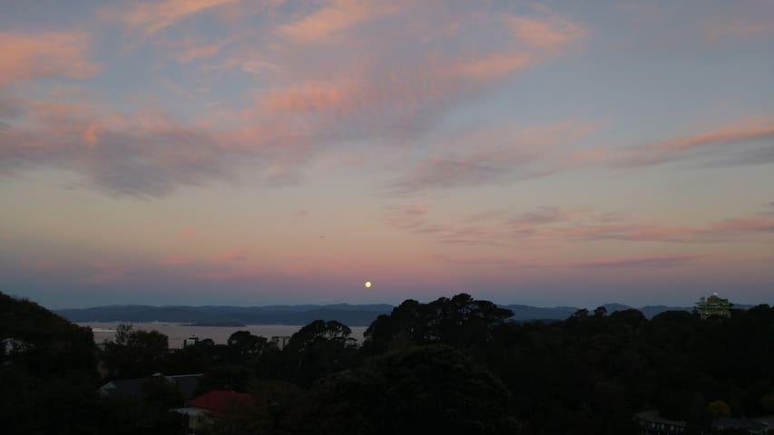 Sunset and moonrise.