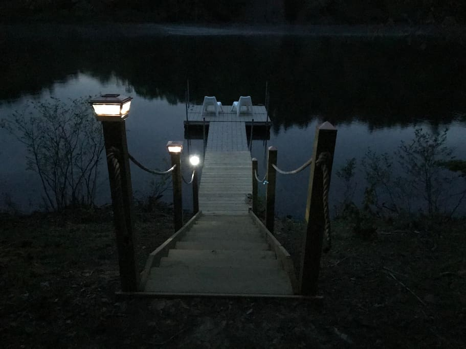 Evening on the lighted dock