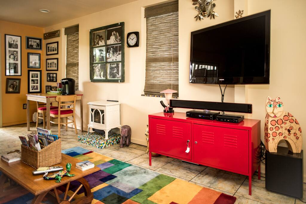 Relax after a day of exploring and watch some cable TV in the living room
