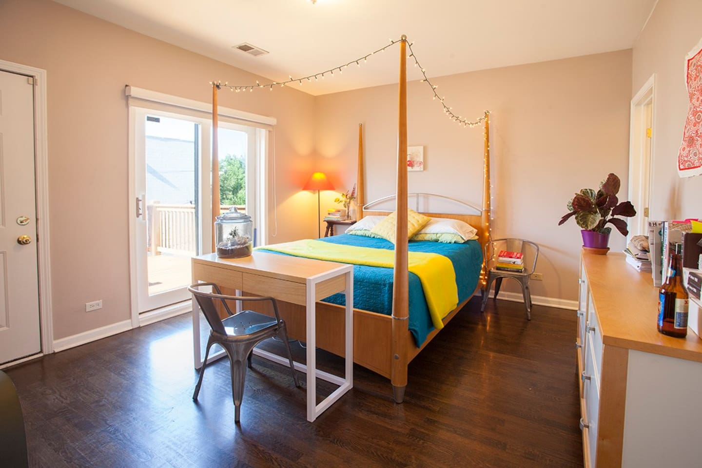 Large bedroom with queen size bed with access to your own large balcony