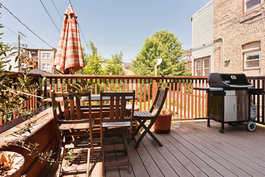 Back deck with table, seating and grill