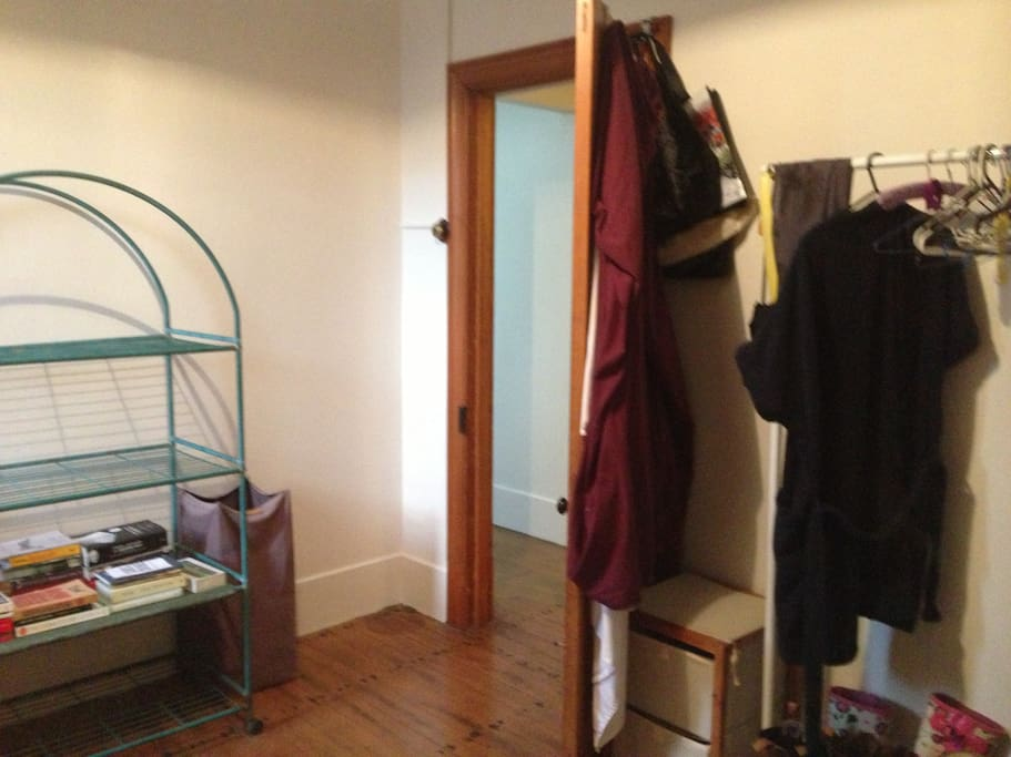 Large private room with space to arrange your belongings and hang your clothes.