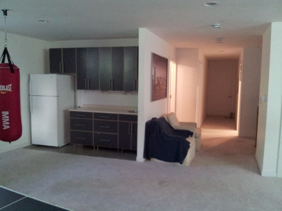 lower level common area with refrigerator/freezer & kitchen sink