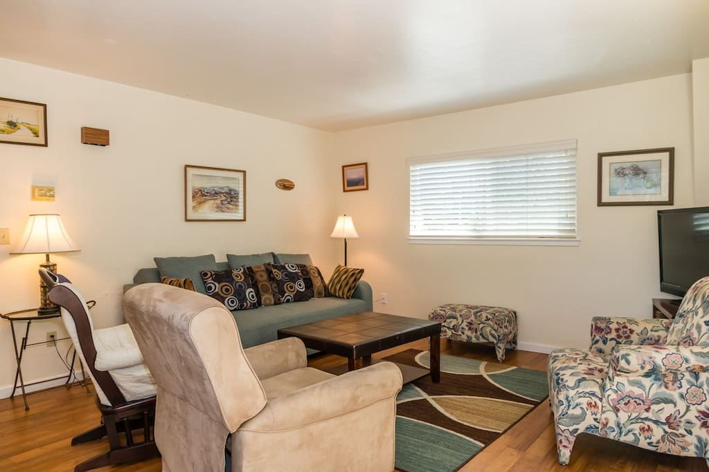 """In the living room, a blue couch and 3 snug armchairs provide plenty of seating for movie marathons on the 40"""" flat-screen TV, complete with cable and a DVD player."""