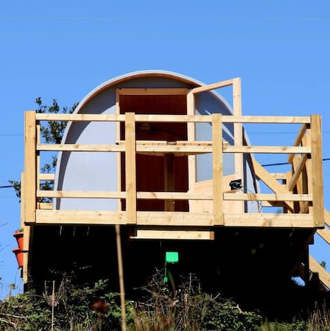 """""""Sky"""" - a cosy pod with beautiful panoramic views of Brynglas Retreat Campsite."""