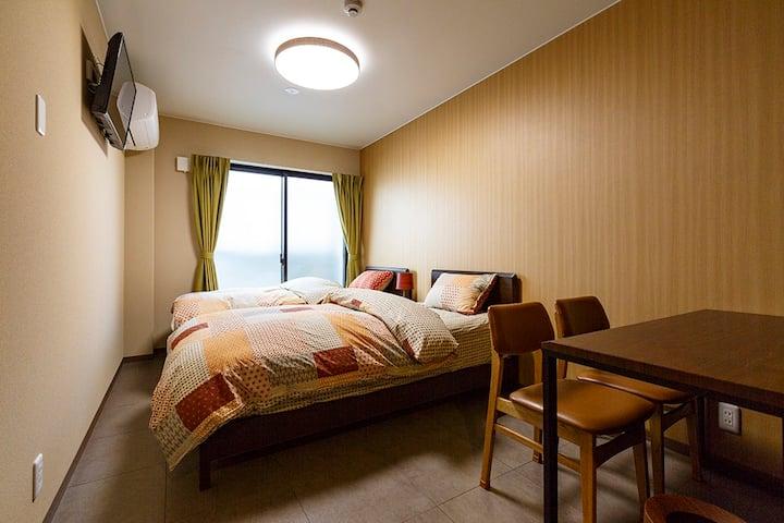 Newly built hotel, twin, own bath & toilet