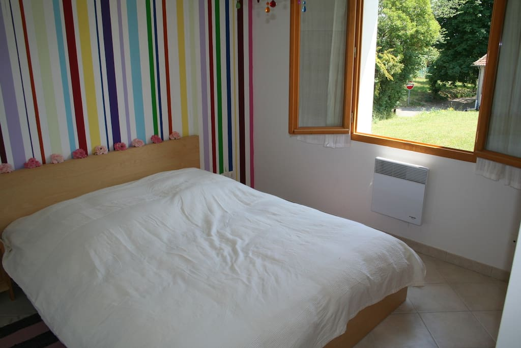Example bedroom. All three rooms are of a similar size and have double beds
