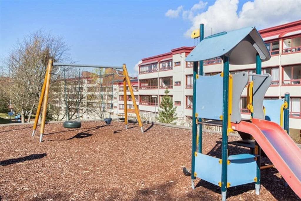 The apartment is located in a quiet residential area close to the metro.