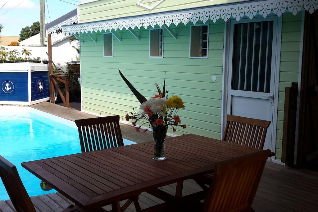 Extérieur en bois , piscine privative