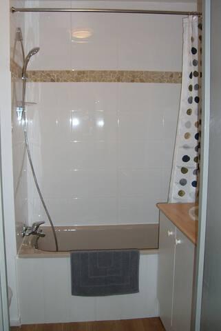 salle de bain avec sèche serviettes et èche cheveux