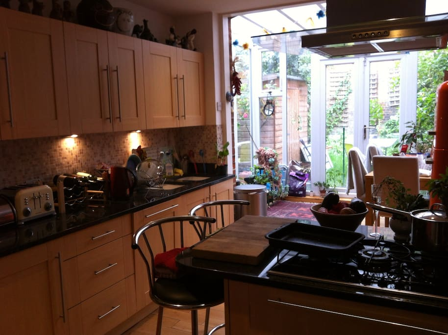 Good size kitchen with conservatory leading to garden