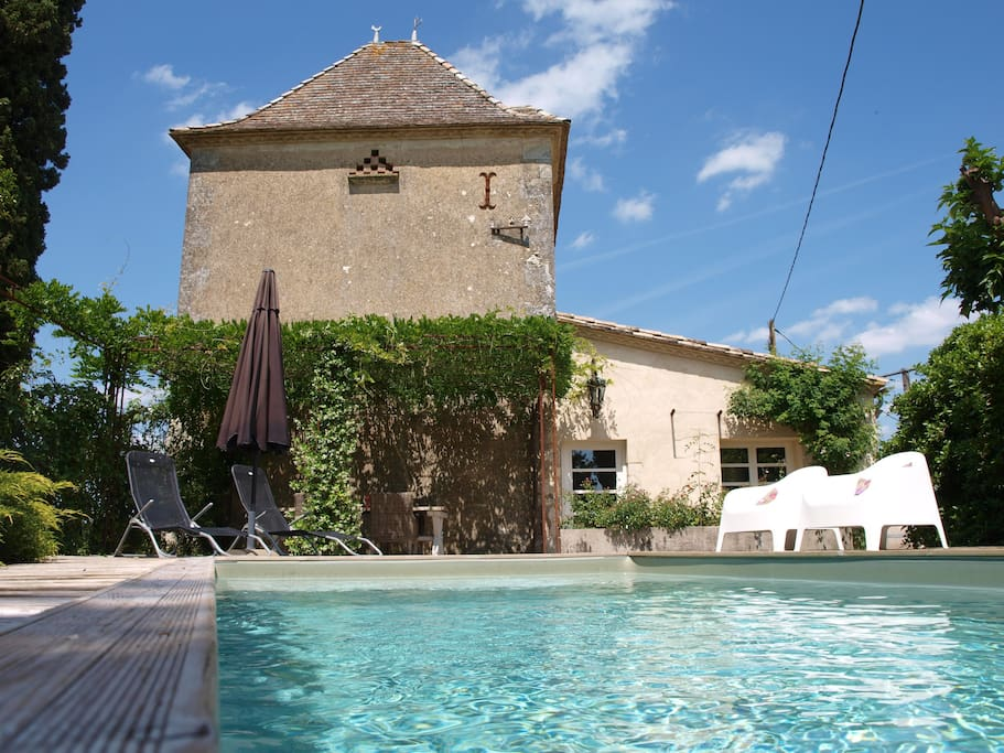 Our pigeon tower with private heated pool.