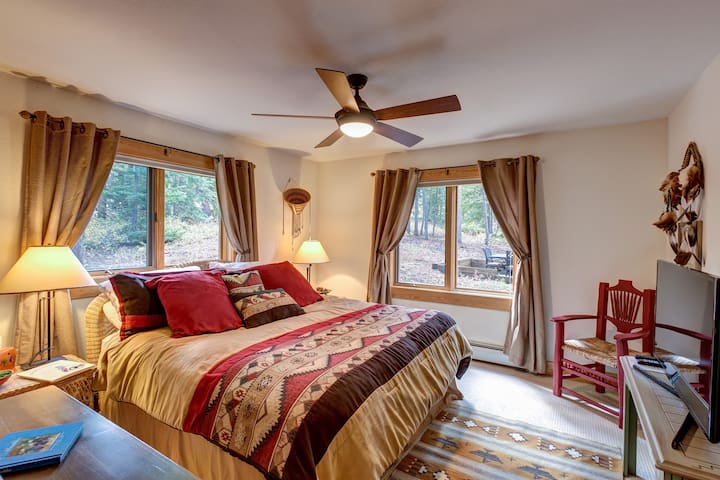 bedroom with king size bed and view from all windows