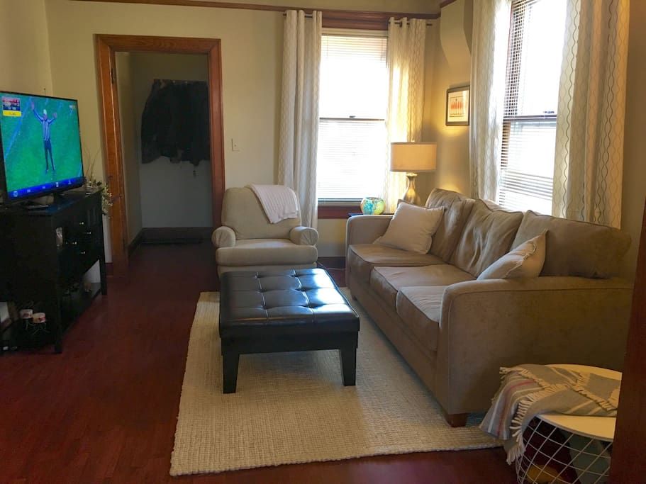 Cozy and light family room. Large smart TV with Hulu, Netflix and Amazon Prime available for use. There are also several games to play for additional entertainment and lots of blankets to cuddle up with.