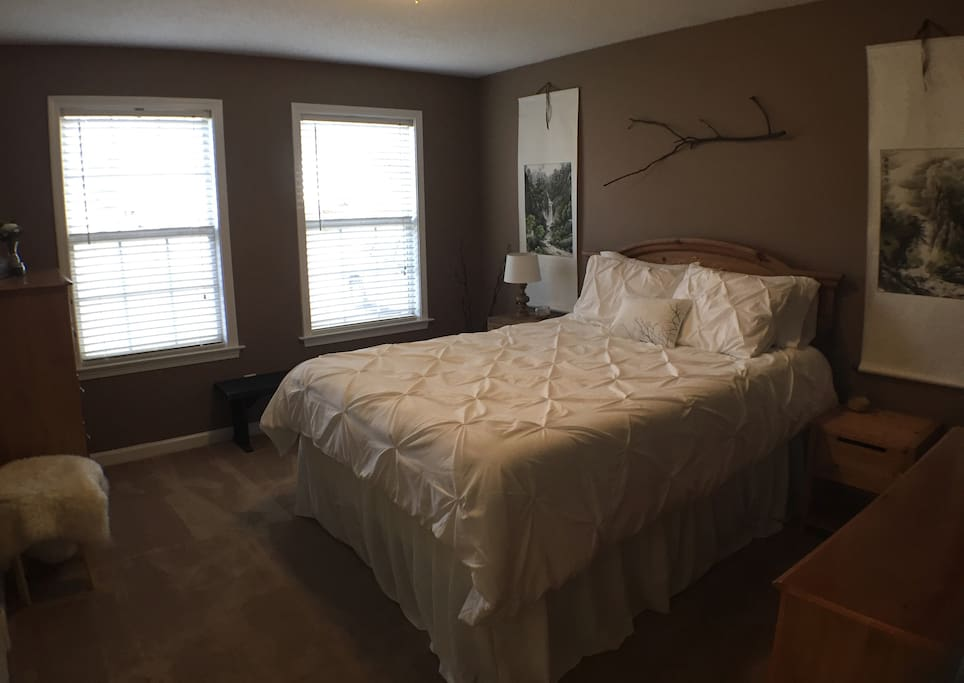 Romantic master bedroom with a green tea infused soft-medium firm mattress for a perfect night's sleep!