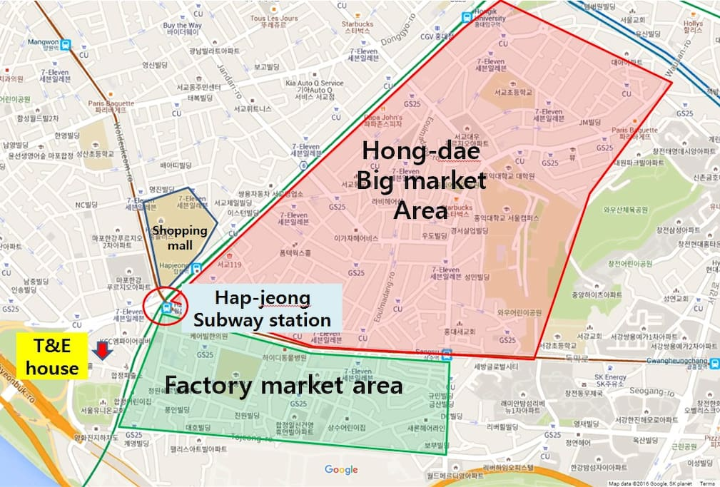 T&E location (230m from subway station very close), big shopping mall(messena police), close to hong dae market area &Han river