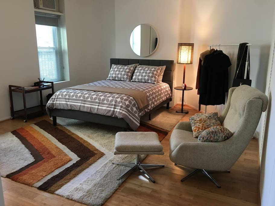 Newly renovated! Queen size bed, large reading chair and large windows